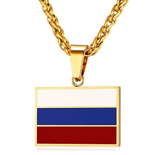 U7 Flagge Russlands Anhänger Halskette 18k vergoldet Trikolore Weiß-Blau-Rot Kettenanhänger Nationalflagge Fahne Unisex Modechmuck mit 55cm Weizenkette