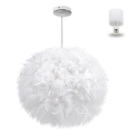 White Feather Plafond Pendentif Légère Nuance, Aiernuo Luxe Abat - Jour Avec 9o Modernes 900lm Conduit Ampoule Droplight Allogène Lampe de Table de Salon et Chambre de Décor