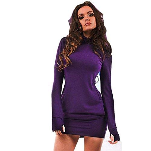 Kleider YunYoud Damen Lange Ärmel Abendkleid Einfarbig Strandkleid O-Ausschnitt Gemütliches Kleid Mode Festkleid Beiläufig Cocktailkleid Business-Kleid Minikleid (Lila, XL) (Lila Sleeve T-shirt Cap Mädchen)