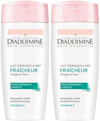 Diadermine Soin Essentiel Lait Demaquillant Fraîcheur pour Femme 200 ml - Lot de 2