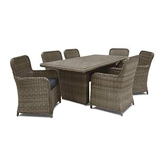 Bellavista Dining Lounge Set 13-tlg. | Sitzgruppe | Kunst-Rattangeflecht | 6 große Sessel mit Gepolsterten Kissen | Tisch 2 x 1 m mit Sicherheitsglasplatte