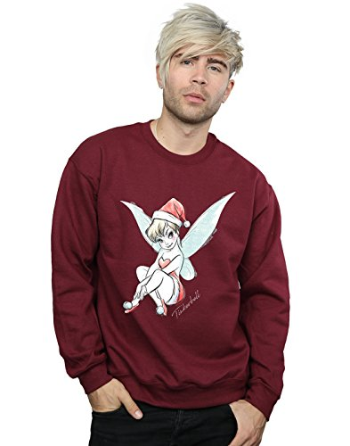 Disney Herren Tinkerbell Christmas Fairy Sweatshirt Medium Burgund -