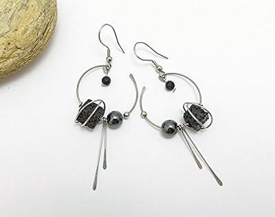 Boucles d'oreilles noir et gris, lave, hématite et acier inoxydable (A15)