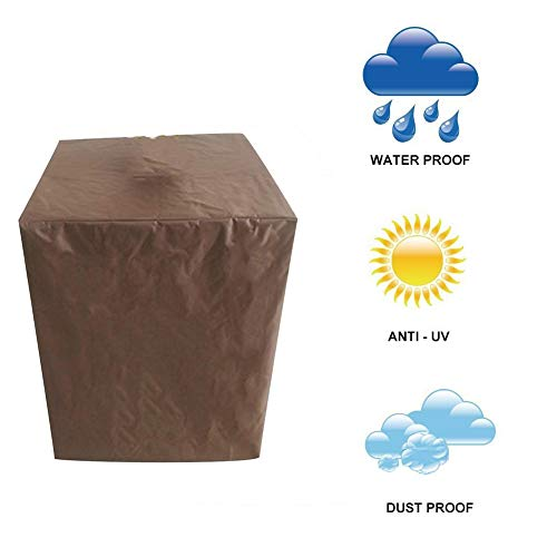 NINGWXQ Gartenmöbelabdeckung, wasserdicht, UV-Schutz, für Gartentische und Stühle, rechteckig, Verschiedene Größen, Synthetikfaser, braun, 90x90x90cm