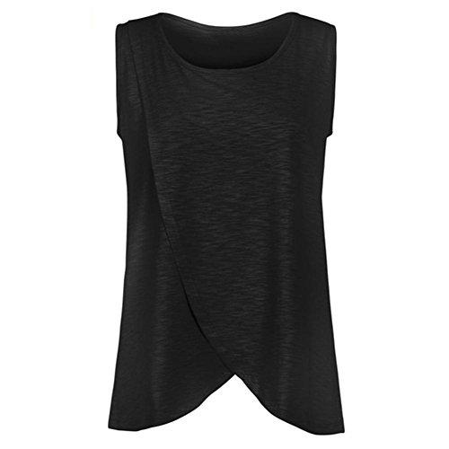 Mutterschaft T-Shirt, OYSOHE Neueste Damen Still Wrap Top Cap Sleeveless Doppelschicht Bluse T-Shirt (S, Schwarz)
