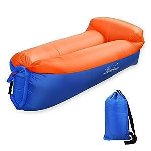 Aufblasbare Liege, Air Sofa, Fast Inflate von Wind oder Air Pump, Wasserdichte Air Bag Stuhl Sofa, ideal für Reisen, Camping, Wandern, Pool und Beach Parties, Lazy Hangout Couch Bed (Orange-Blue, 1-pack)