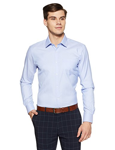 Park Avenue Men's Plain Slim Fit Formal Shirt (PMSX11332-B2!_40!_Light Blue)