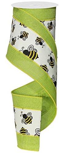 Vibrant Bumble Bee Band/Girlande, 10,2cm breit x 10Meter | Rustikaler Leinenoptik Band mit Gelb und schwarz Hummeln -