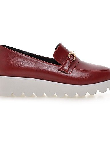 ZQ gyht Scarpe Donna - Mocassini - Tempo libero / Formale / Casual - Plateau / Creepers / Punta arrotondata - Plateau - Finta pelle - Nero / Rosso , red-us6 / eu36 / uk4 / cn36 , red-us6 / eu36 / uk4  black-us5 / eu35 / uk3 / cn34