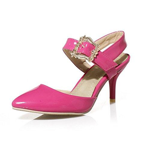 Odomolor Donna Fibbia Tacco Medio Pelle Di Maiale Puro Sandali Rosso