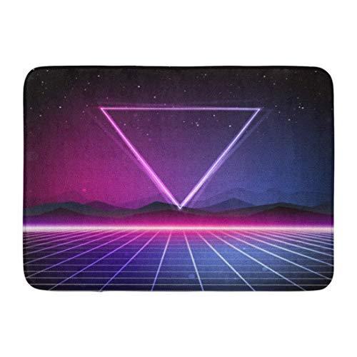 LIS HOME Fußmatten Bad Teppiche Outdoor/Indoor Fußmatte lila Grafik 80er Jahre Retro Sci Fi Pink futuristisch Neon Rave 1980 Galaxy Badezimmer Dekor Teppich Badematte