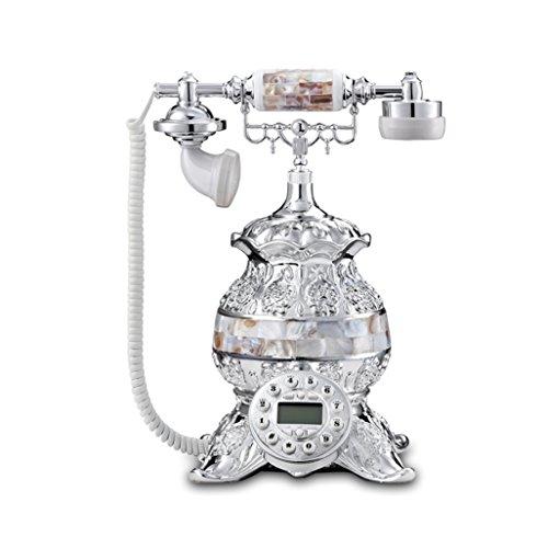 MMM- Retro / Antique / Telefon / Key Dialing / mit Freisprecheinrichtung und Anrufer-ID-Funktion, verdrahtete Telefon aus Shell und Messing (Größe: 24 * 26 * 35cm) Festnetztelefon ( Farbe : Weiß ) (Schnurgebundene Freisprecheinrichtung, Anrufer-id)