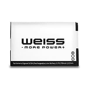 WEISS - Batterie Ni-MH de rechange pour Siemens Gigaset SL78H / SL400 / SL400A / SL400H /SL 780 / SL785 / SL788 (700 mAh)