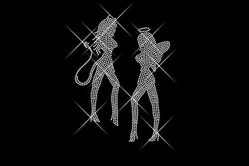 Luxflair© Strass Motiv Engel und Teufel. Sexy Bügelbild aus Strass, 20cm groß / riesig. Glitzerndes Strassstein Bügelmotiv, kristallfarben auf Folie zum Aufbügeln bzw. Aufkleben oder als Applikation. Für Mädchen, Frauen, Girls und Babys. Funkelnde Strass-Steine, auch als Rhinestone Hotfix bekannt, Anleitung inklusive.