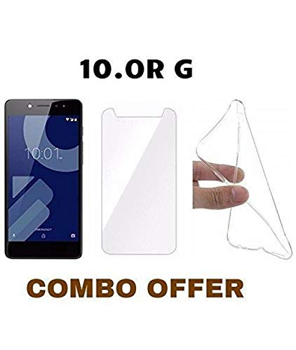 M.G.R.J Tempered Glass + Transparent Back Cover [Combo Pack] for 10.or G