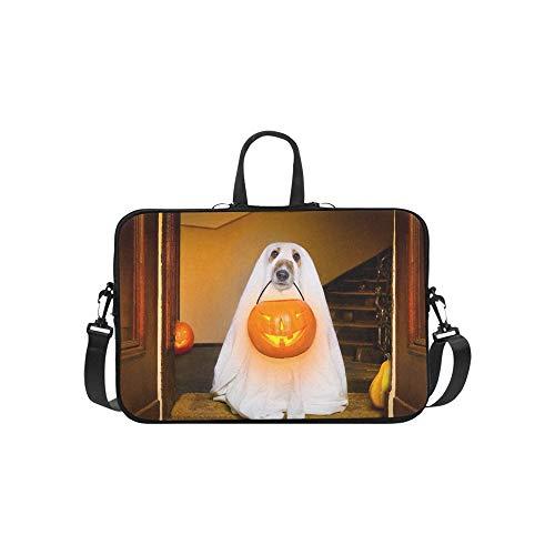 Hund sitzen Geist-Halloween-Haustür Stockfoto Muster-Aktenkoffer-Laptop-Tasche Kurier-Schulter-Arbeitstasche Crossbody-Handtasche für das Geschäftsreisen