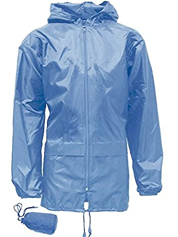 Boys Girls Kag in a Bag Kagool Kagoul Rain Coat Jacket Age: 4-16 (15/16 Years (34), Sky Blue)