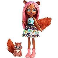 Enchantimals Mini-poupée Sancha Écureuil et Figurine Animale Stumper, aux cheveux roses et bruns avec jupe en tissu, jouet enfant, FMT61
