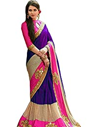 RHMART Purple Half And Half Designer Crepe Silk Saree With Blouse Material