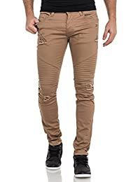 Gov Denim - Pantalon beige homme troué