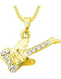 Ruchi Creatation 14k Yellow Gold Plated Rd Cut White CZ Guitar Shape Alloy Pendant Set
