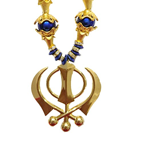 Premang Car Hanging Golden Khanda Coloured Pearls and Golden Caps (Blue)