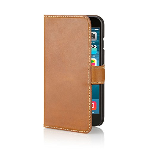 Pipetto iPhone 5S / 5 Hülle, Apple iPhone 5S Hülle Leder Folio Brieftaschen Cover + Kartenhalter (Schwarz) Tan
