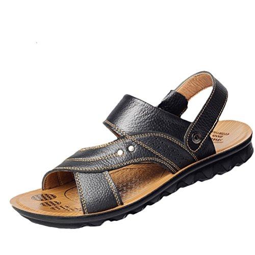 MatchLife Herren Leder Strand Sandalen Freizeit Hausschuhe Outdoor Sommer Pantolette Style1-Schwarz EU40