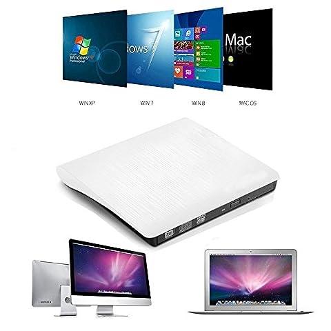 Ammiy® USB3.0 DVD-RW DVD/CD Brenner Slim extern Laufwerk Portable(tragbar) DVD CD Brenner, 9,5mm Chip,Superdrive für alle Laptops/Desktop z.B Lenovo,Acer,Asus; PC unter Windows und Mac OS für Apple Macbook, Macbook Pro, MacbookAir, iMac (Weiß)