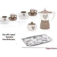 Brandani Batticuore Set Caffè 7 pezzi (4 tazzine caffè con piattino , caffettiera 3 tz , zuccheriera , vassoio cm 55 x 30)