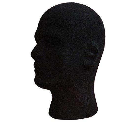 fulltimetm-male-styrofoam-foam-flocking-head-model-wig-glasses-display-stand-black