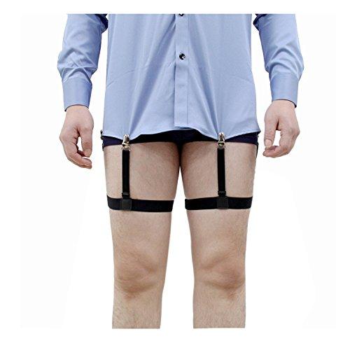 Jelinda Soutien-chemise Porte-jarretelles Jarretière avec Pinces pour Chemise Antidérapant et Infroissable pour Homme (noir+pince Métal)