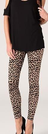 Brown Leopard Print Leggings Ladies Size 8-14 UK (M/L (12-14) UK)