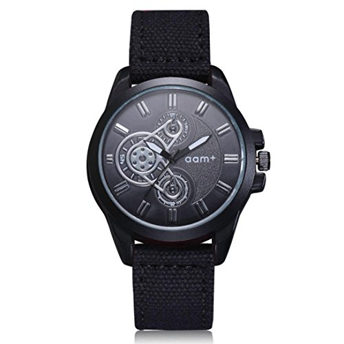 Herren Quarzwerk Militär Armbanduhr Maschinen Schwarz Zifferblatt/Denim Armband, Zarupeng Einfache Sport Uhren Quarzuhr Stopuhr (One Size, Black) (Maschine Denim)