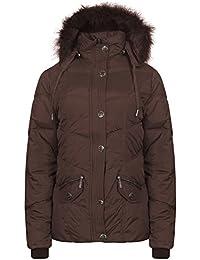 Señoras estilo militar Parka chaqueta Mujer chaqueta con capucha con borde de pelo detectables tamaño 8–12