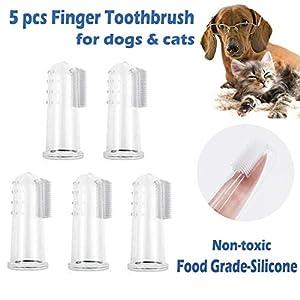 xuehaostore 5 Pièces Doigt Brosse à Dents pour Le Chien et Le Chat, matériau en Silicone Souple, Soins Dentaires pour Chien, Chats, Soins dentaires Professionnels