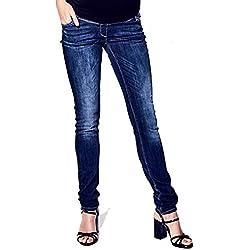 Love2Wait Damen Umstands Jeans, Blau - Blue (Dark Wash), W30/L34