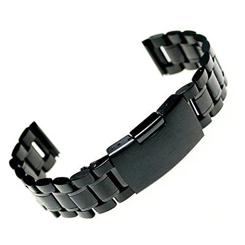 Foxnovo 24mm Uhrenarmband Edelstahl Armband Armband gerade Ende solide Links (Schwarz)
