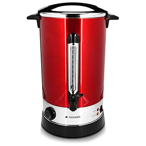 Navaris Hervidor de agua eléctrico de 20L con grifo - Dispensador de bebidas calientes con termostato - Olla eléctrica para té café y vino - rojo