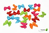20 Stück Satinschleifen 2,5x3cm (MIX-BU/orange rot fuchsia türkis hellgrün) // Deko Schleifen für Hochzeit Taufe Kommunion Applikation Streudeko einfarbig