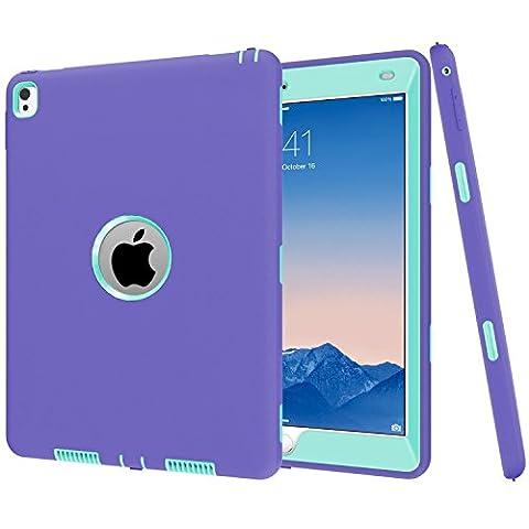 iPad Pro 24,6cm Coque, MS Jumpper Heavy Duty Coque amortissement haute résistance aux chocs Armour Defender Coque pour iPad Pro 24,6cm 2016 For iPad Pro 9.7 Purple Mint