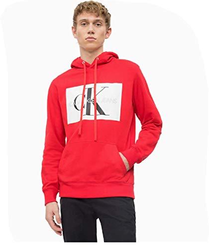 Calvin Klein Jeans Herren Sweatshirt Monogram Box Logo Hoodie weiß L Logo Hoodie Weiß