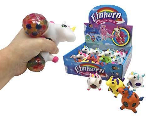 JustRean Toys Squeezy Einhorn Molly   1x Squeeze Anti-Stress-Ball gefüllt mit Aquaperlen - Gelperlen - Wasserperlen   Zum quetschen, werfen & Wut ablassen