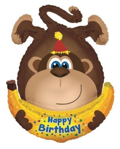 Preisvergleich Produktbild Alles Gute Zum Geburtstag Monkey mit Banane 86.4cm Supershape Folienballon