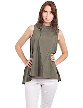 Abbino 6077 Basics Tops Camisetas Sin Mangas para Müjeres - Hecho en ITALIA - 6 Colores - Camisas Entretiempo...