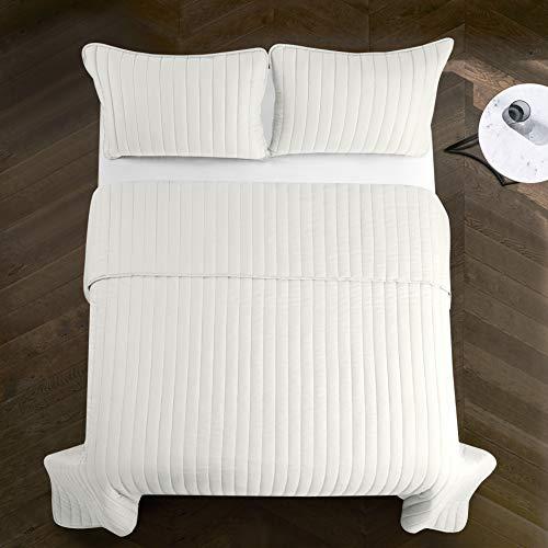 Pop Shop Rita Solid Reversible Lightweight Quilt Set, King, White