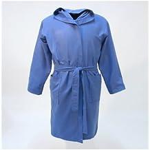 10XDIEZ Albornoz Microfibra Adulto Azul - Medidas Albornoces/Batas Adulto - M (Mediana)