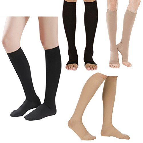 Deylaying Knee High Graduated Compression Maternity Stockings Class 3 (40-50 mmHg) - Medical Elastic Stockings Varicose Veins Socks