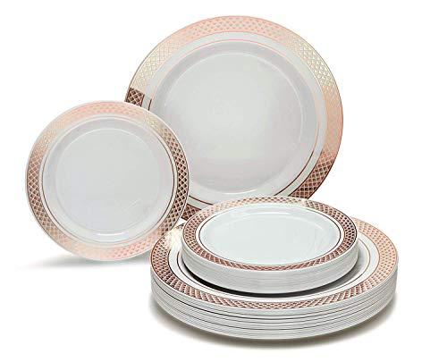 Occasions 50 Stück Hochzeit Premium-Einweg-Kunststoff-Platten Set - 25 x 10.5 '' Dinner + 25 x 7,5 '' Salat/Dessert (Celebration Weiß/Rose Gold) - Kunststoff-platten Hochzeit