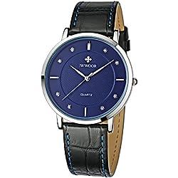 Herren Luxus Marke Fashion Business Quarzuhr Herren 's Ultra Dünn Echt Leder Armbanduhr Blau